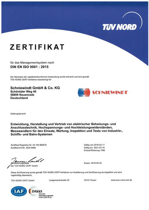 Certificates - SCHNIEWINDT | Industrielle Beheizungstechnik ...