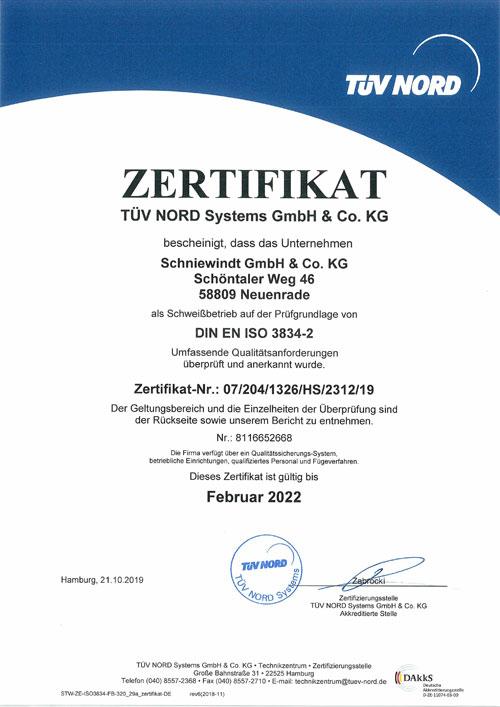 Schniewindt Zertifikat - DIN EN ISO 3834-2