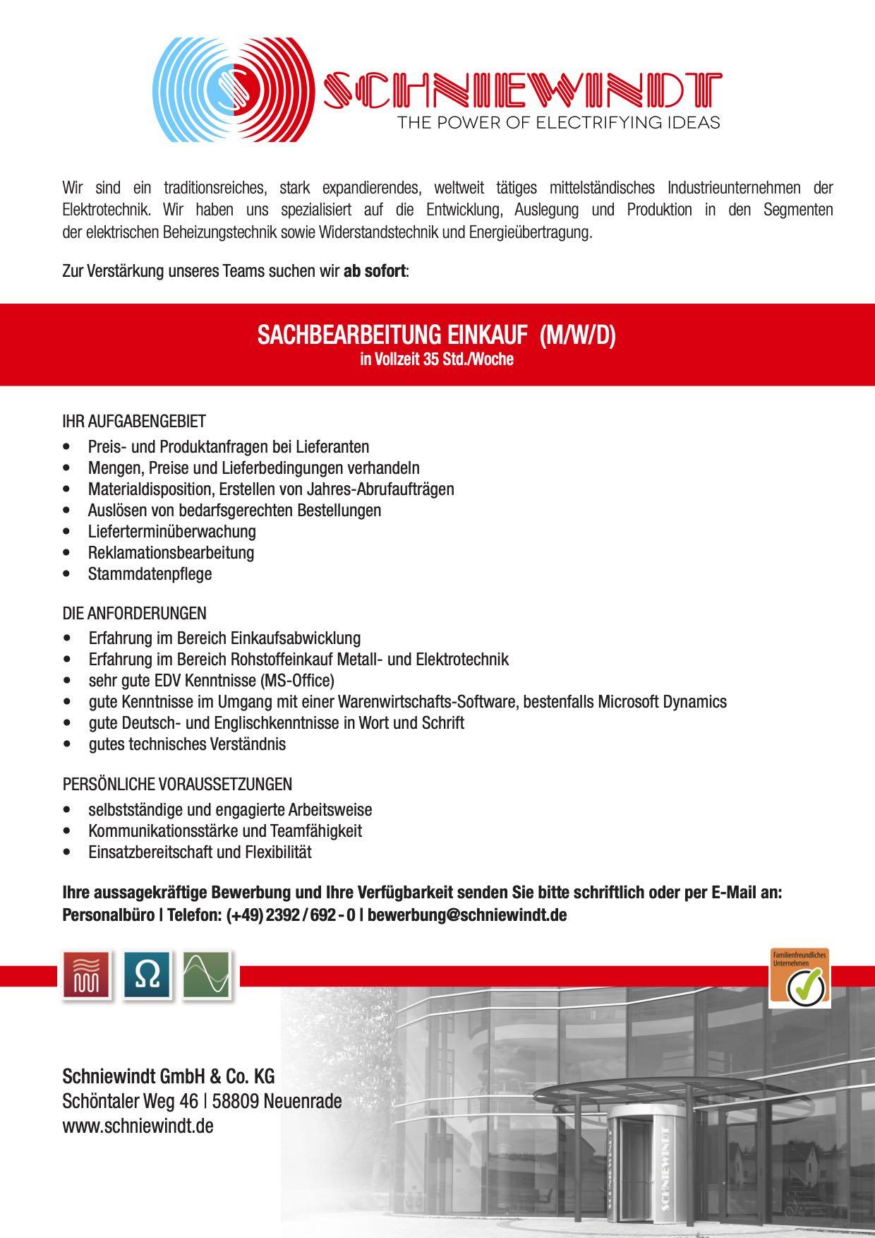 Schniewindt-Stellenanzeige-Assistent-Fertigungsmeister